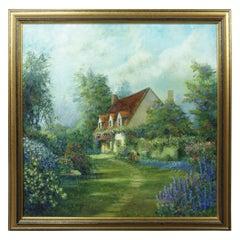 Dwayne Warwick Original Oil Painting on Canvas Cottage Garden Landscape Floral