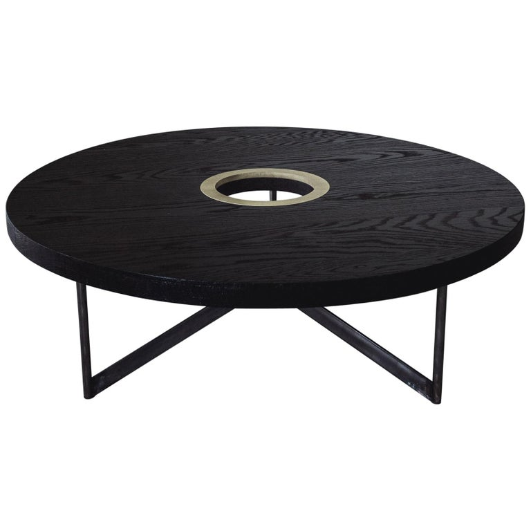 Solid Stainless Steel Coffee Table: DxD Coffee Table In Blackened Oak, Brass And Blackened