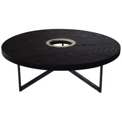 DxD Coffee Table in Blackened Oak, Brass and Blackened Stainless Steel by Mtharu
