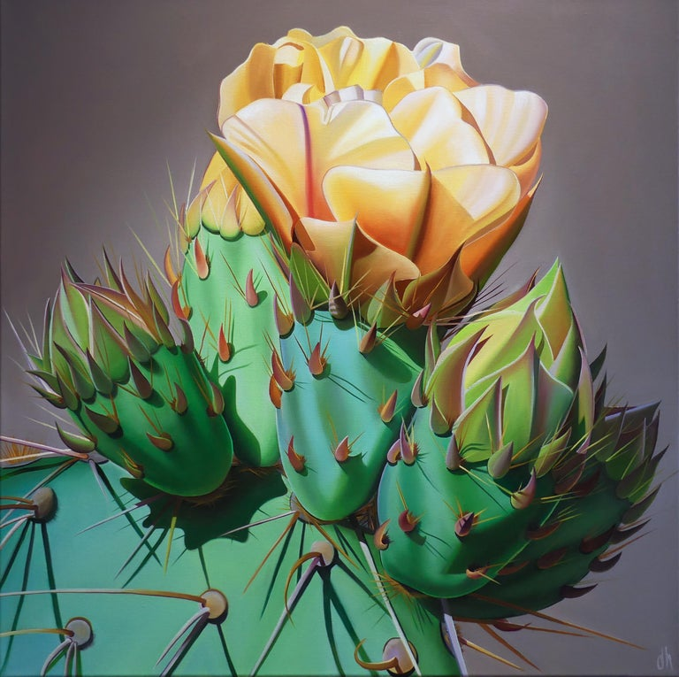 "Dyana Hesson Figurative Painting - ""Arizona Gold, Prickly Pear Bloom and Bud, Desert Botanical Garden"""