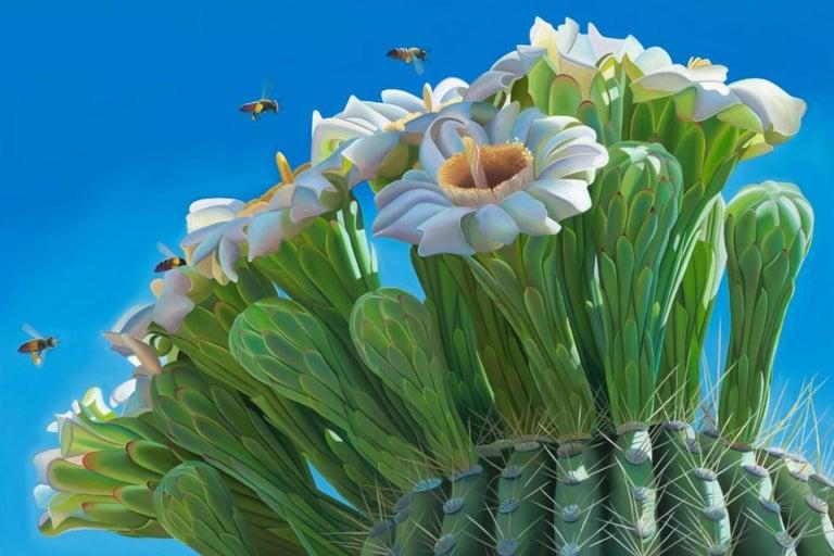 """Dyana Hesson Still-Life Painting - """"Beeline"""" Saguaro Bloom & Sky  Salt River, Arizona"""