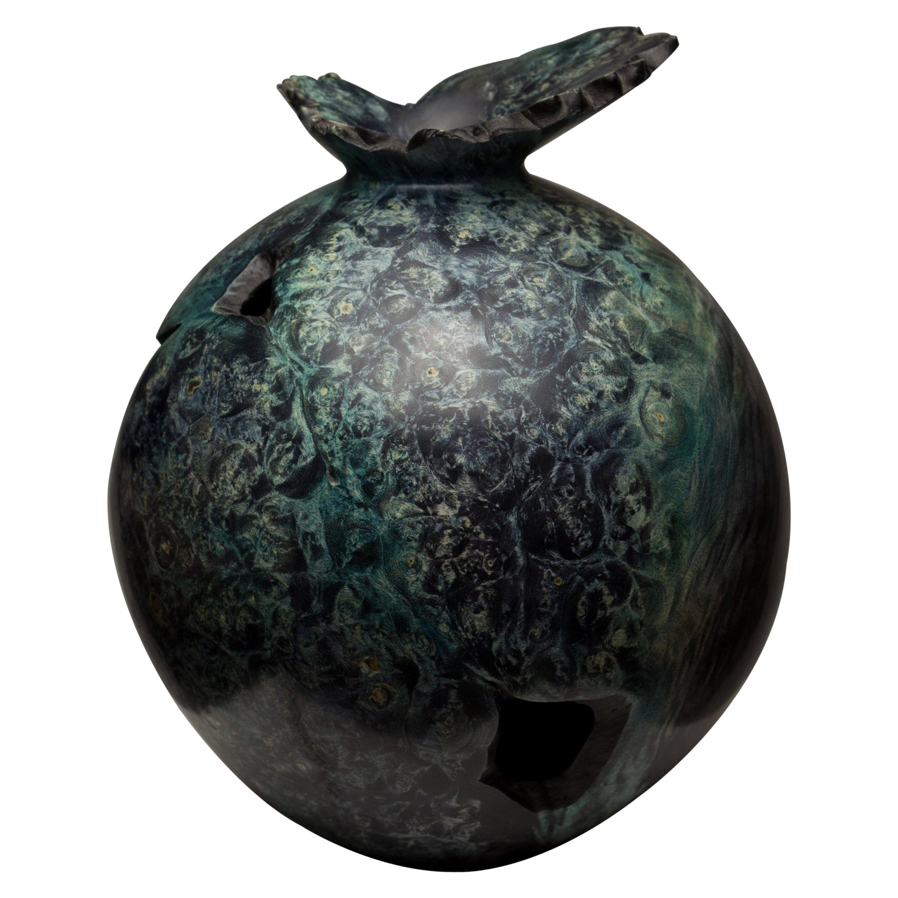 Dyed Boxelder Burl Form by Vlad Droz
