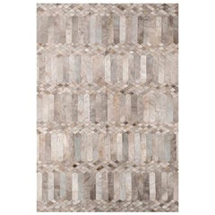 Dyed Gray Silver Art Deco Customizable Largo Cowhide Area Floor Rug X-Large