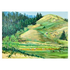 """Dykoff """"Pastoral Landscape"""", Extra-Large Impressionist Oil Painting, 1982"""