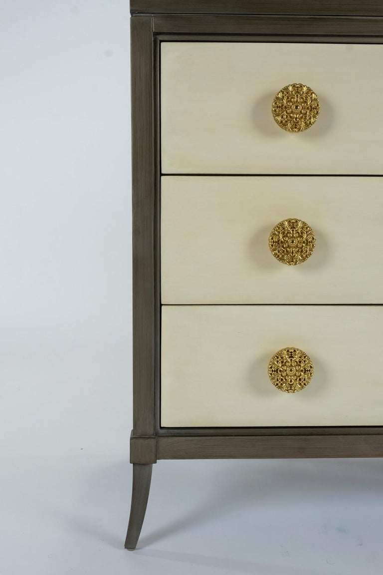 Dylan Grey and Cream Chest of Drawers In New Condition For Sale In Houston, TX