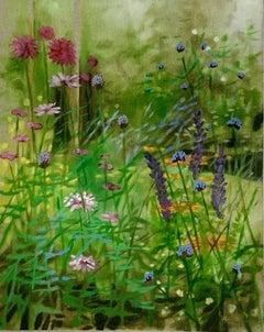 Hampshire Garden I, Dylan Lloyd, Original Floral Oil Painting, Realist Artwork