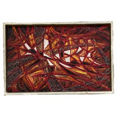 Dynamic Burnt Red Abstract European Oil on Canvas Painting Signed 1966