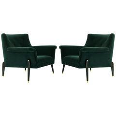 Dynamic Pair of Midcentury Italian Lounge Chairs, circa 1958