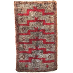 Dynamic Vintage Tulu Rug with Architectural Step Design in Red and Brown