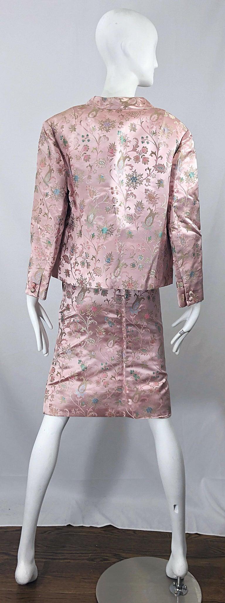 Dynasty 1960s For Lord & Taylor Light Pink Large Size 3 Piece Vintage Dress Set For Sale 5