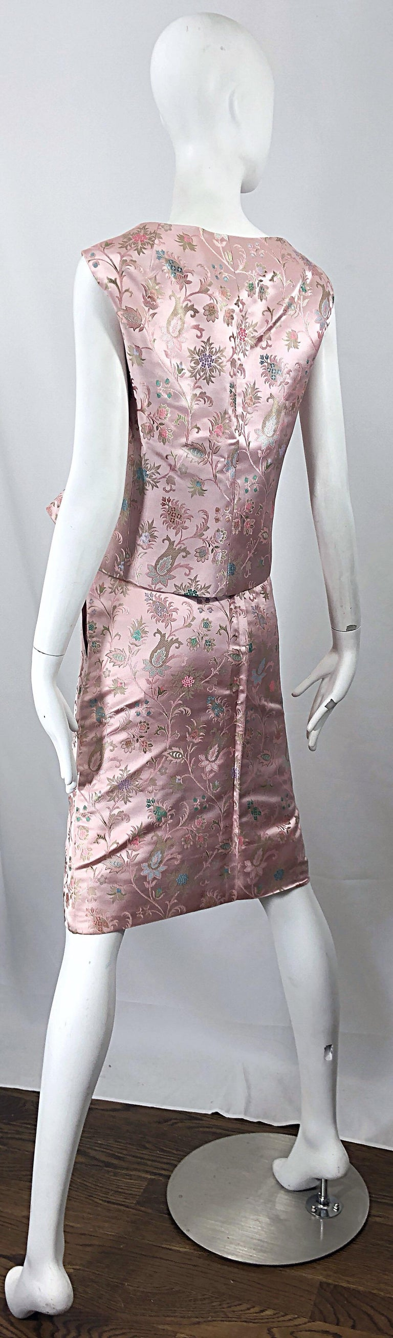 Dynasty 1960s For Lord & Taylor Light Pink Large Size 3 Piece Vintage Dress Set For Sale 6