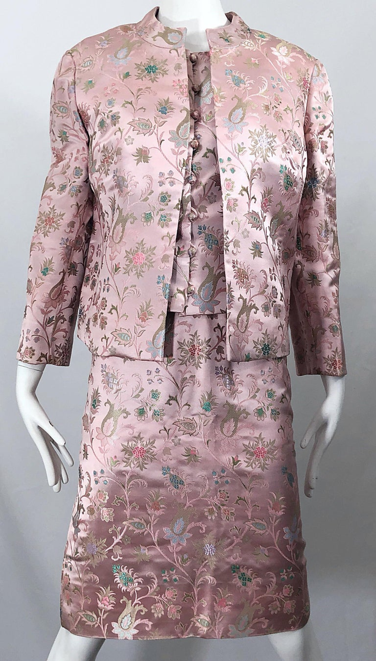 Dynasty 1960s For Lord & Taylor Light Pink Large Size 3 Piece Vintage Dress Set For Sale 8