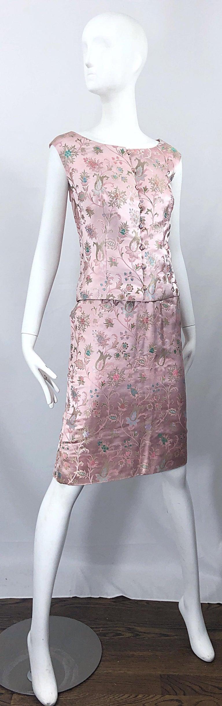 Dynasty 1960s For Lord & Taylor Light Pink Large Size 3 Piece Vintage Dress Set For Sale 9