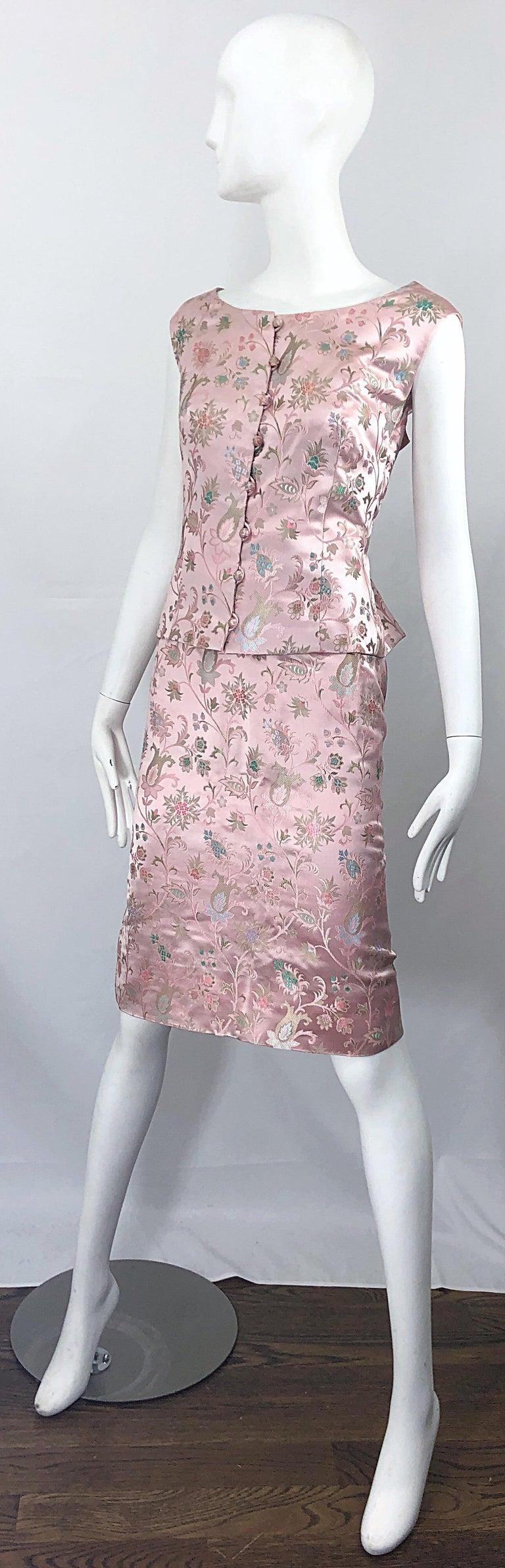 Dynasty 1960s For Lord & Taylor Light Pink Large Size 3 Piece Vintage Dress Set For Sale 10