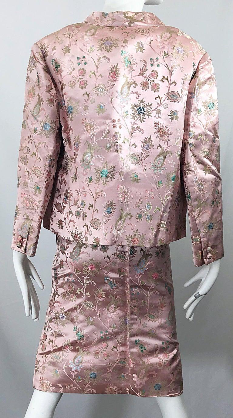 Dynasty 1960s For Lord & Taylor Light Pink Large Size 3 Piece Vintage Dress Set For Sale 11