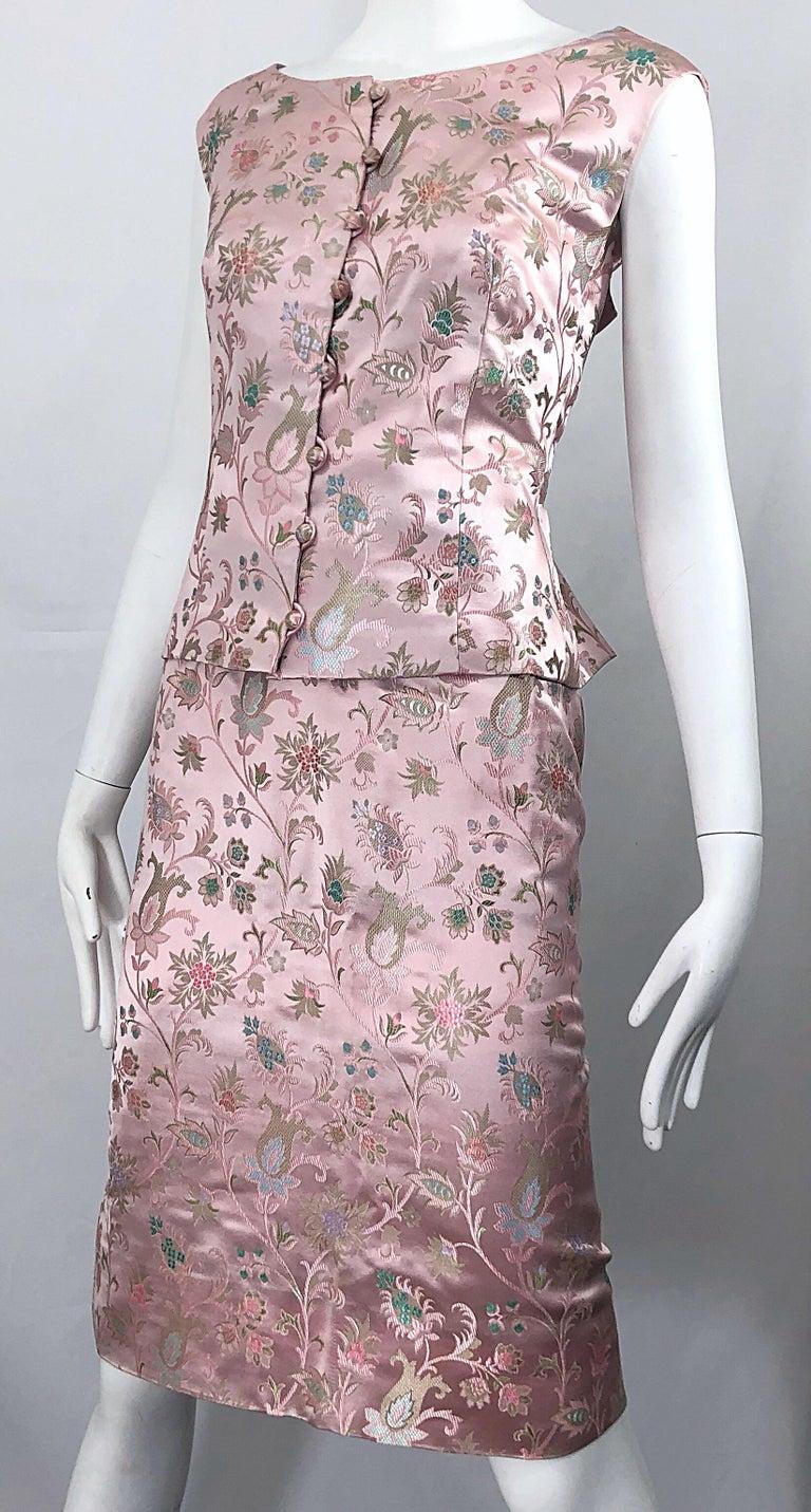Dynasty 1960s For Lord & Taylor Light Pink Large Size 3 Piece Vintage Dress Set For Sale 12