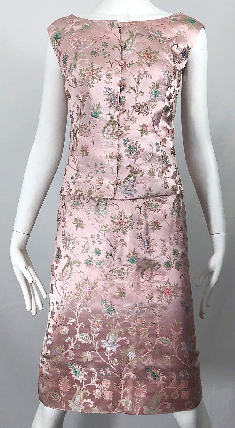 Dynasty 1960s For Lord & Taylor Light Pink Large Size 3 Piece Vintage Dress Set For Sale 13