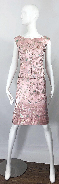 Dynasty 1960s For Lord & Taylor Light Pink Large Size 3 Piece Vintage Dress Set For Sale 14