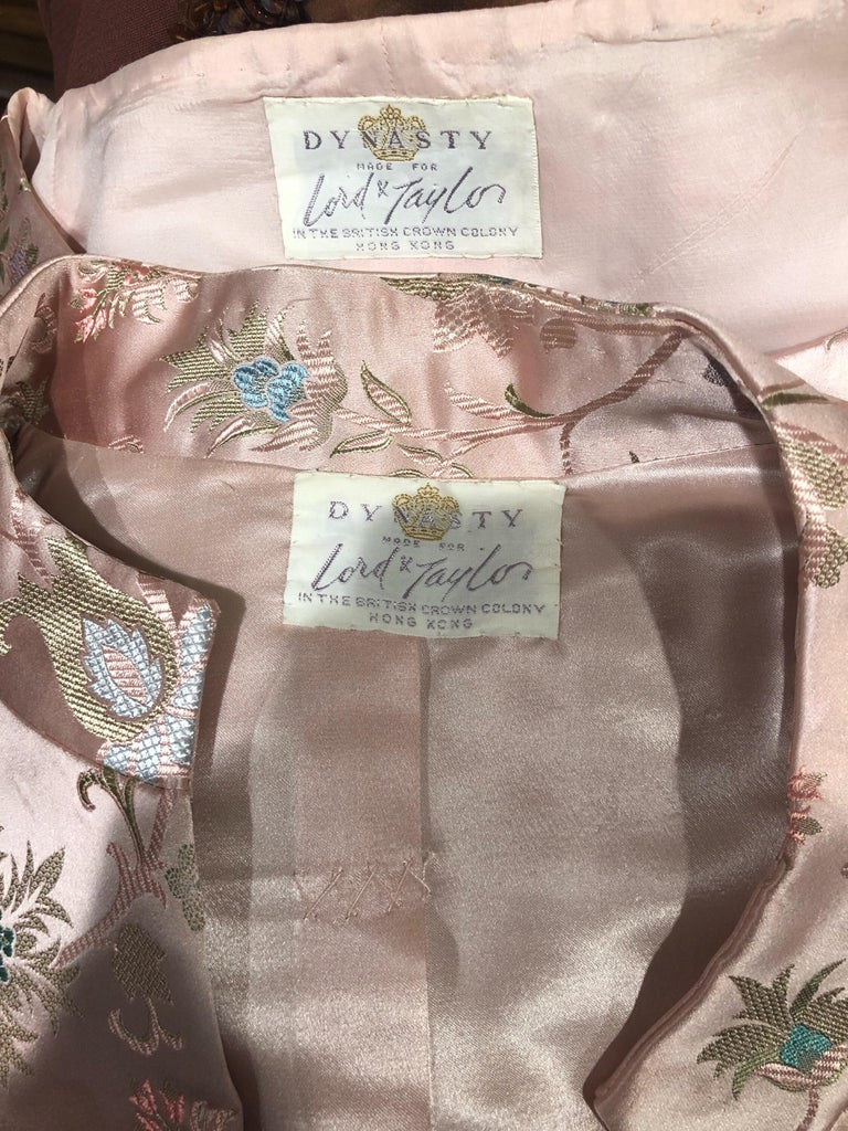 Brown Dynasty 1960s For Lord & Taylor Light Pink Large Size 3 Piece Vintage Dress Set For Sale