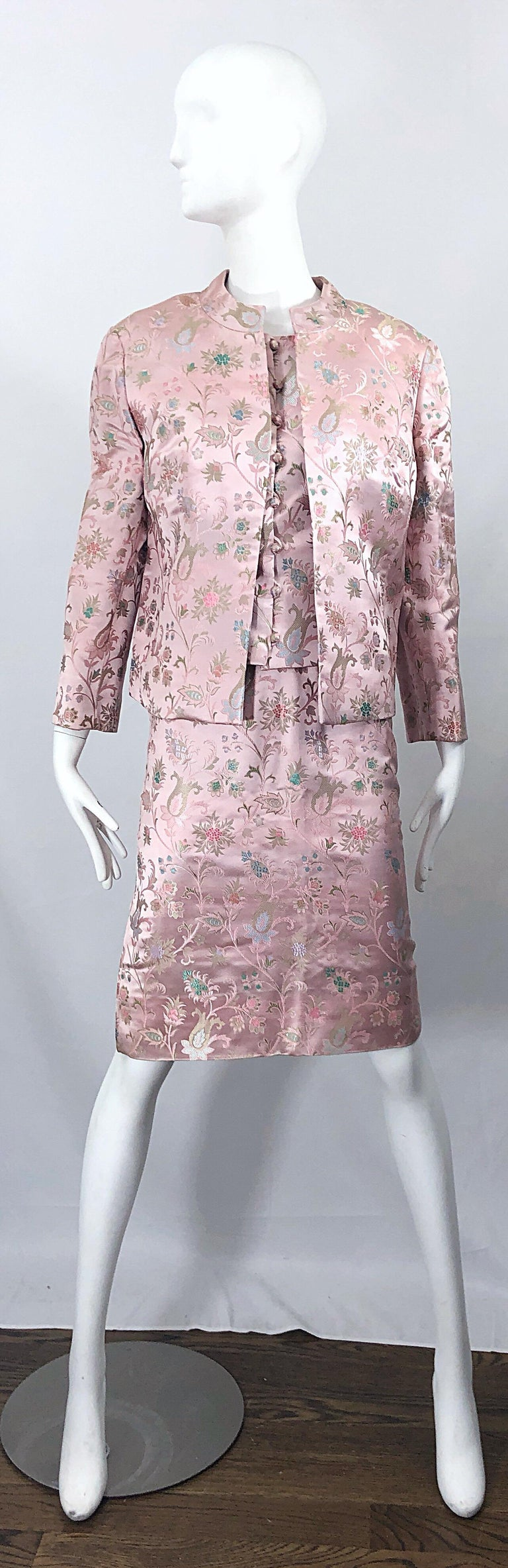 Dynasty 1960s For Lord & Taylor Light Pink Large Size 3 Piece Vintage Dress Set In Excellent Condition For Sale In Chicago, IL