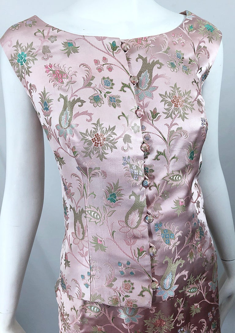 Women's Dynasty 1960s For Lord & Taylor Light Pink Large Size 3 Piece Vintage Dress Set For Sale