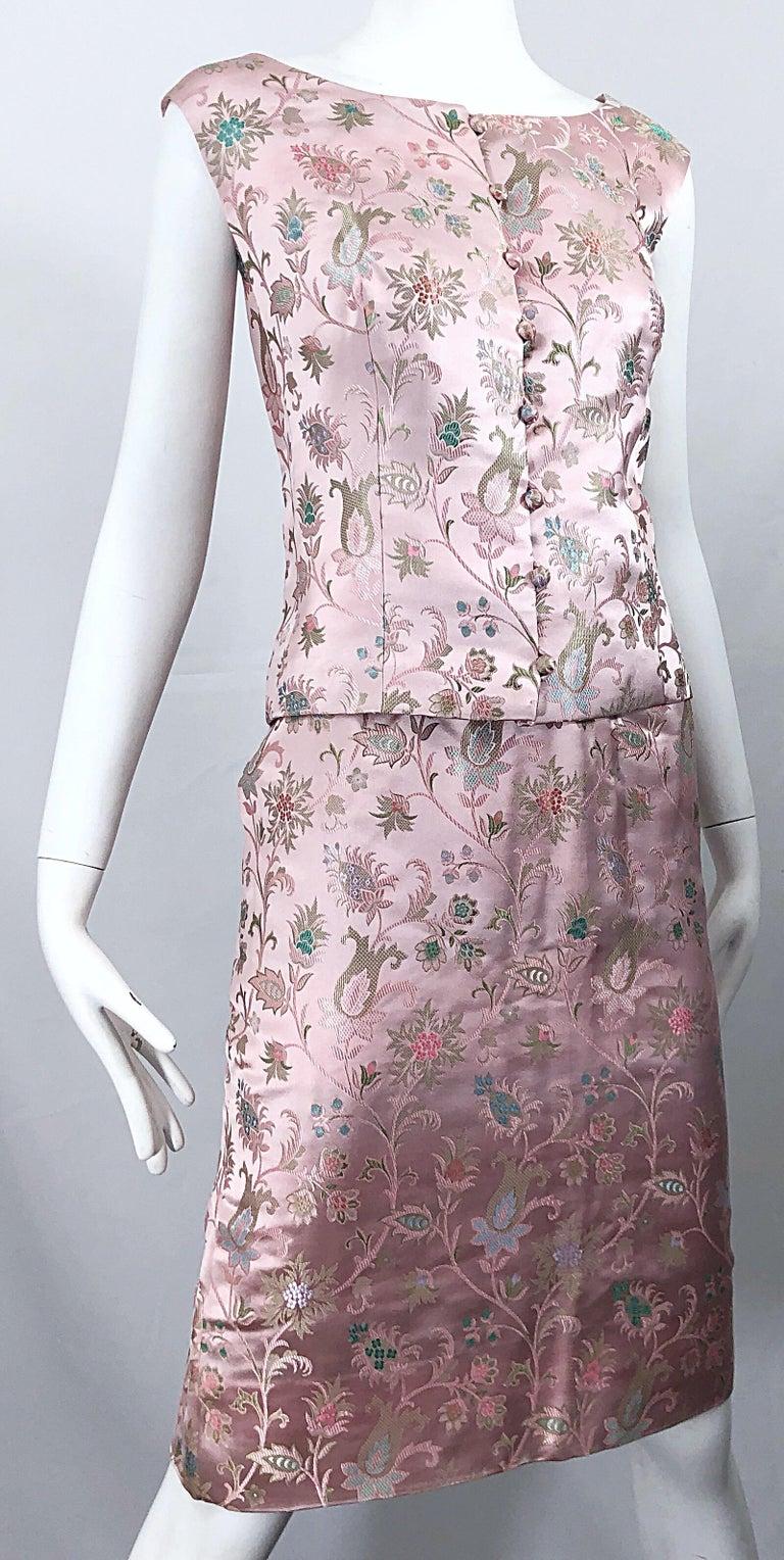Dynasty 1960s For Lord & Taylor Light Pink Large Size 3 Piece Vintage Dress Set For Sale 1