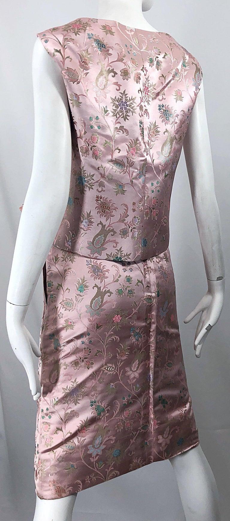 Dynasty 1960s For Lord & Taylor Light Pink Large Size 3 Piece Vintage Dress Set For Sale 2