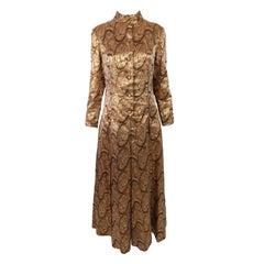 Dynasty 1960s Vintage Bronze, Gold & Silver Metallic Lamé Evening Dress