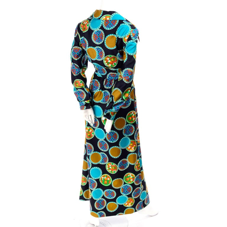 Women's Dynasty Vintage Maxi Dress in Colorful Medallion Print With Pockets For Sale