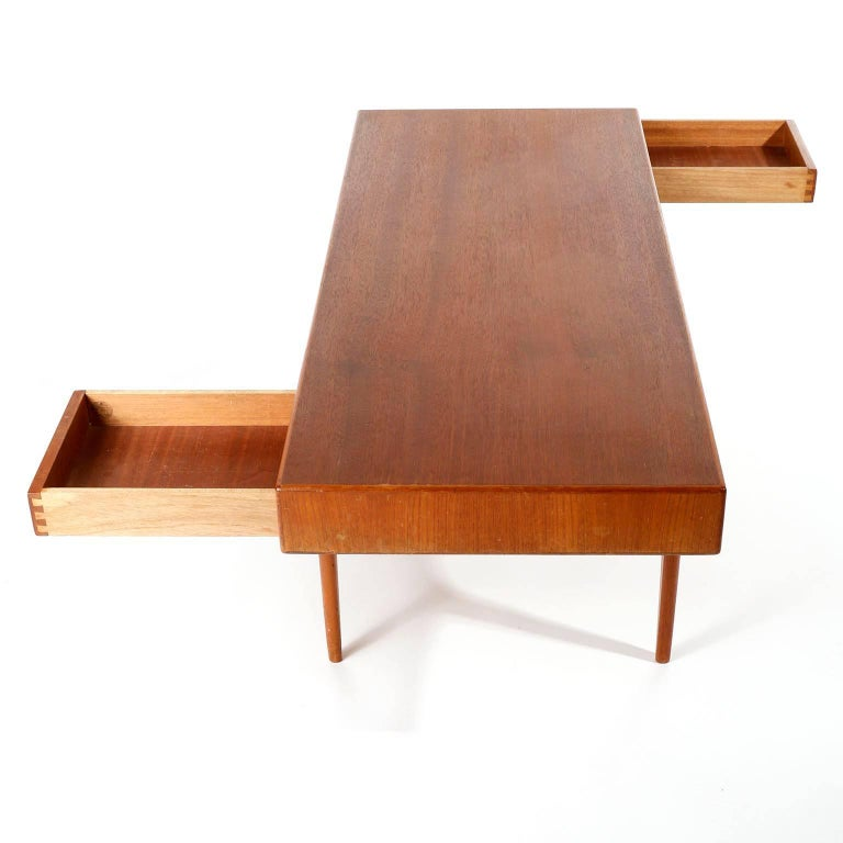 Dyrlund Coffee Teak Table with Drawers, Denmark, 1960s In Good Condition In Graz, AT