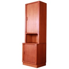 Dyrlund Danish Modern Teak Tambour Door Narrow Bookcase or Bar Cabinet