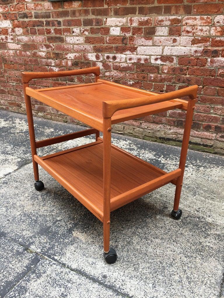 Scandinavian Modern Dyrlund Danish Teak Rolling Cart