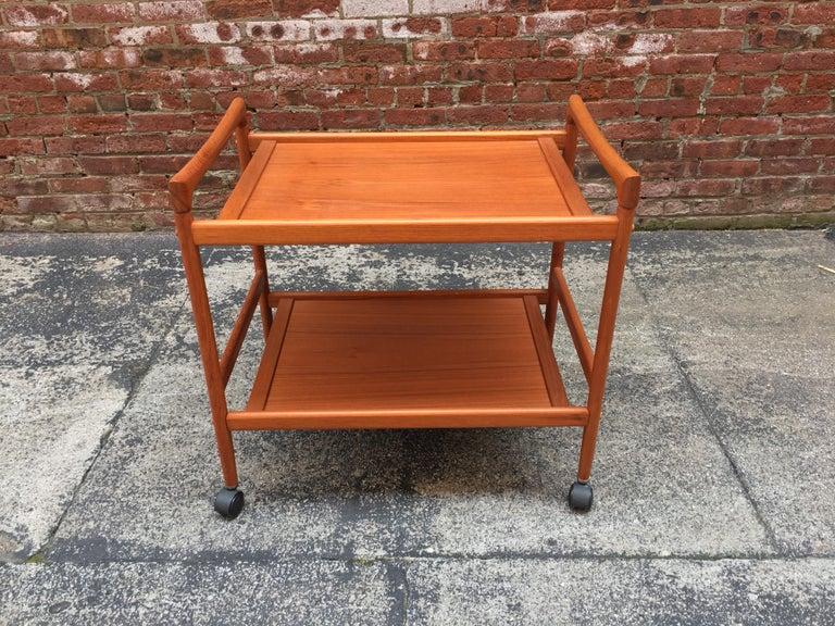 Veneer Dyrlund Danish Teak Rolling Cart