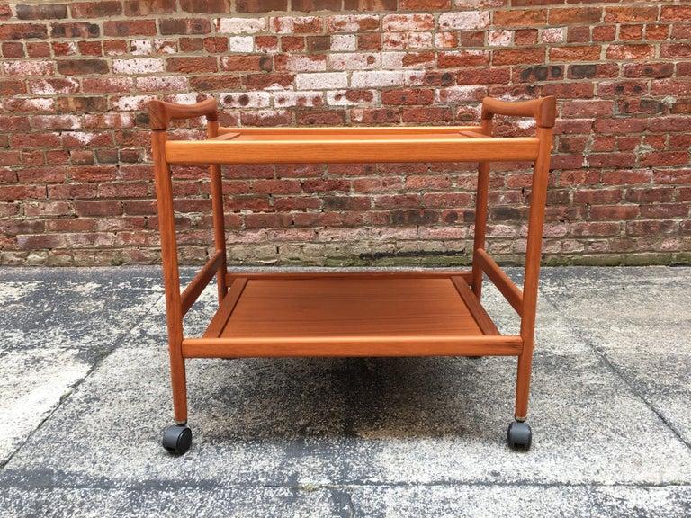 Late 20th Century Dyrlund Danish Teak Rolling Cart