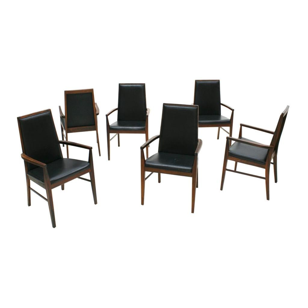 Mid-Century Modern Set of Six Rosewood and Leather Dyrlund Danish Chairs, 1960s
