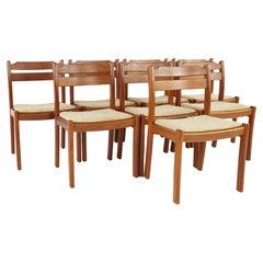 Dyrlund Mid Century Teak Dining Chairs, Set of 8