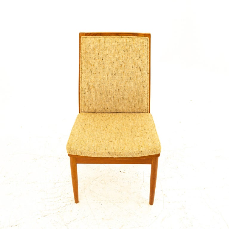 Dyrlund Midcentury Teak Upholstered Dining Chairs, Set of 6 For Sale 3