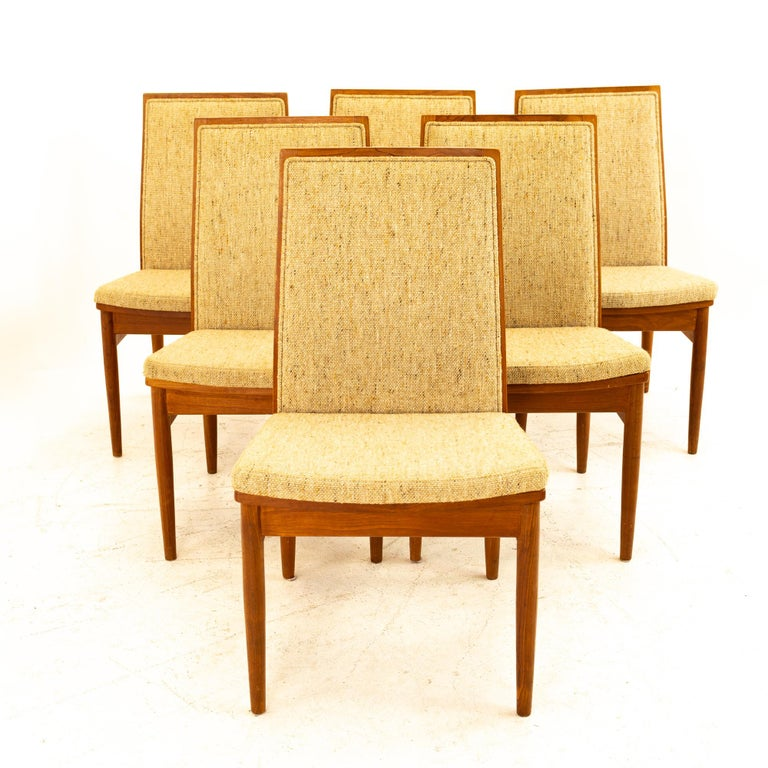 Dyrlund midcentury teak upholstered dining chairs - set of 6 Each chair measures: 20 wide x 21.25 deep x 35.75 high, with a seat height of 18.5 inches  All pieces of furniture can be had in what we call restored vintage condition. That means the