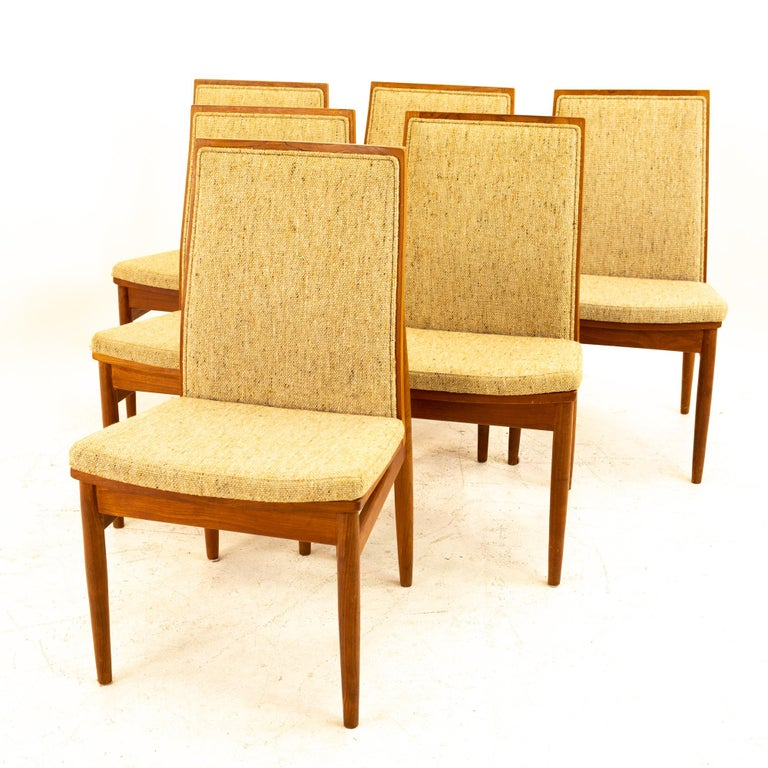 Mid-Century Modern Dyrlund Midcentury Teak Upholstered Dining Chairs, Set of 6 For Sale