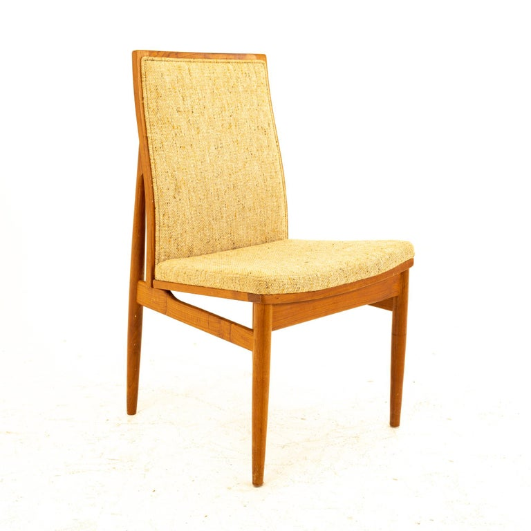 Danish Dyrlund Midcentury Teak Upholstered Dining Chairs, Set of 6 For Sale