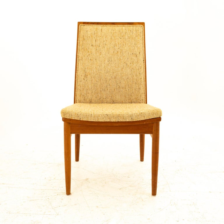 Late 20th Century Dyrlund Midcentury Teak Upholstered Dining Chairs, Set of 6 For Sale
