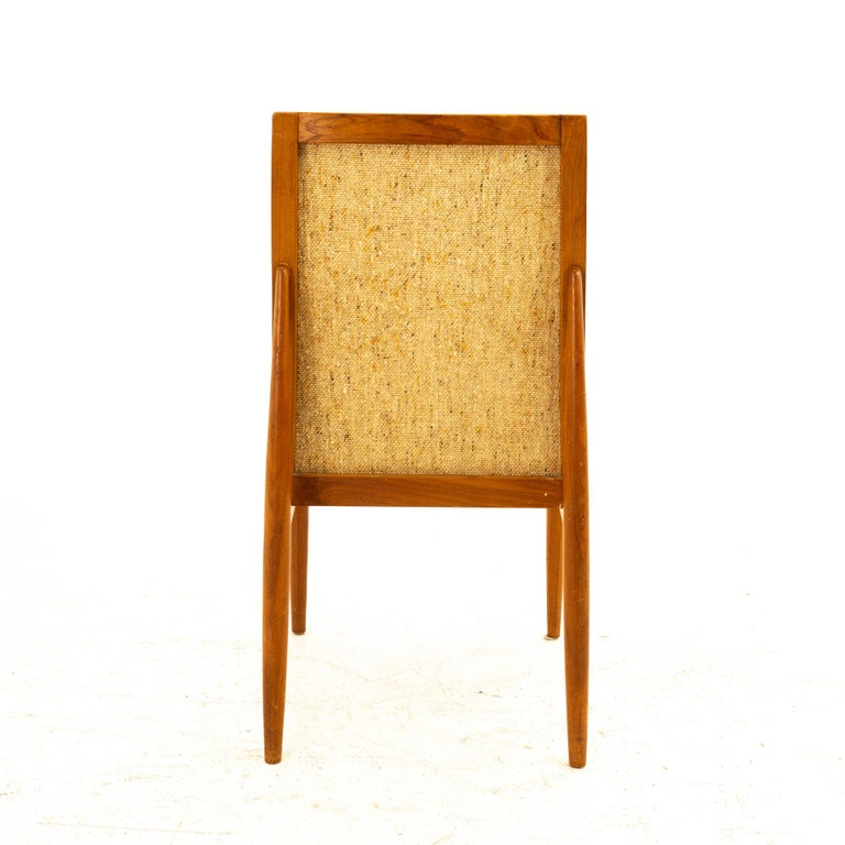 Upholstery Dyrlund Midcentury Teak Upholstered Dining Chairs, Set of 6 For Sale