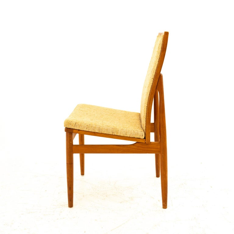 Dyrlund Midcentury Teak Upholstered Dining Chairs, Set of 6 For Sale 1