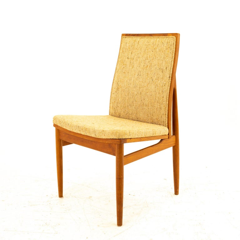 Dyrlund Midcentury Teak Upholstered Dining Chairs, Set of 6 For Sale 2