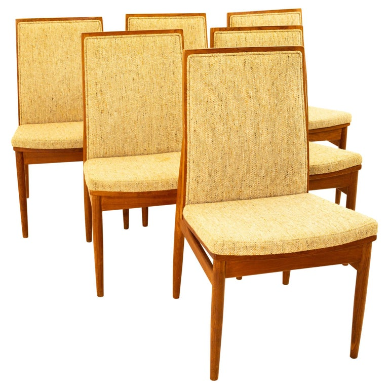 Dyrlund Midcentury Teak Upholstered Dining Chairs, Set of 6 For Sale