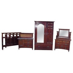 E A Taylor Attr Wylie & Lochhead Arts & Crafts Four-Piece Mahogany Bedroom Suite