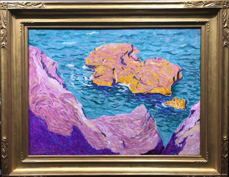 American Modern Painting by E. Ambrose Webster, Rock in the Sea, 1913 For Sale 3