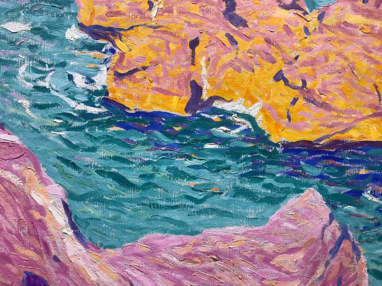 American Modern Painting by E. Ambrose Webster, Rock in the Sea, 1913 For Sale 4
