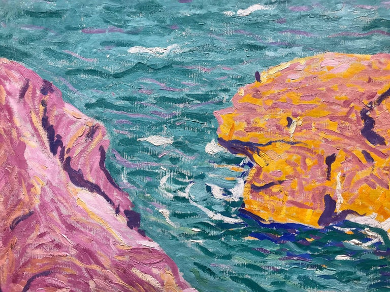 American Modern Painting by E. Ambrose Webster, Rock in the Sea, 1913 For Sale 5