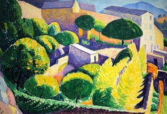 French Garden in a Hillside Village, by American Modernist E. Ambrose Webster